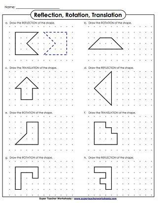 Translate Rotation Reflection Drawing Reflection Math Geometry Worksheets Translations Math