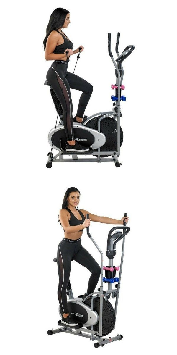 Body Xtreme Fitness 4 In 1 Elliptical Trainer Exercise Bike Home Gym Equipment Compact Design Hand Weight Biking Workout No Equipment Workout Exercise Bikes
