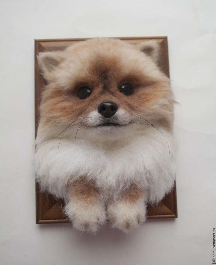 Купить Панно собаки шпиц Лис - рыжий, панно настенное, панно в подарок, собака игрушка