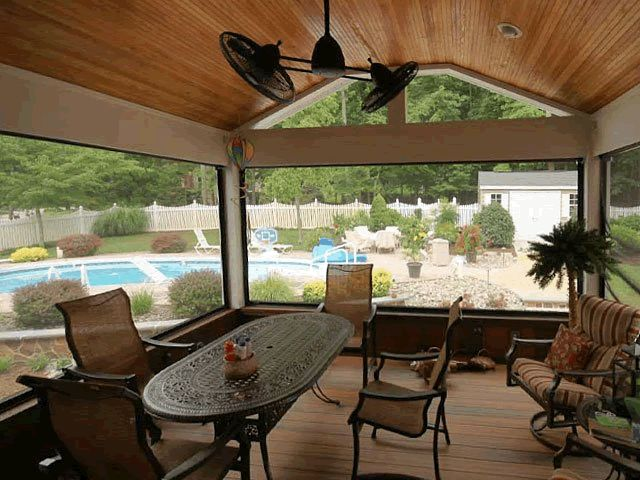 Closed in porches turn your gazebo or sunroom into a bug for Retractable screen porch systems