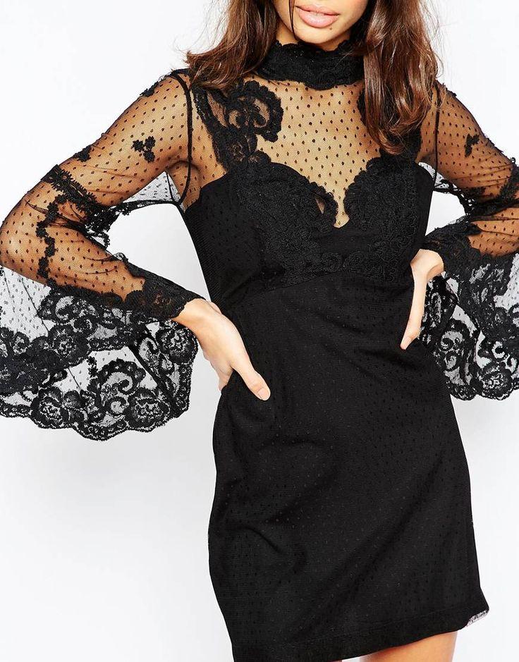 Image 3 ofASOS PETITE High Neck Edwardian Mini Babydoll Dress