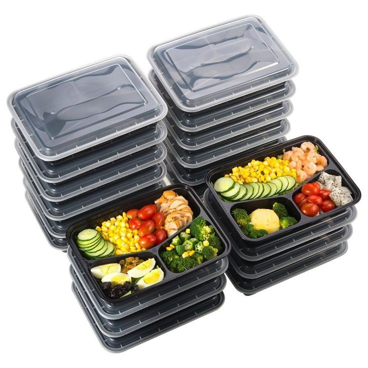 20 Meal Prep Containers Reusable Microwavable Plastic Food Storage 3 Compartment #Sable