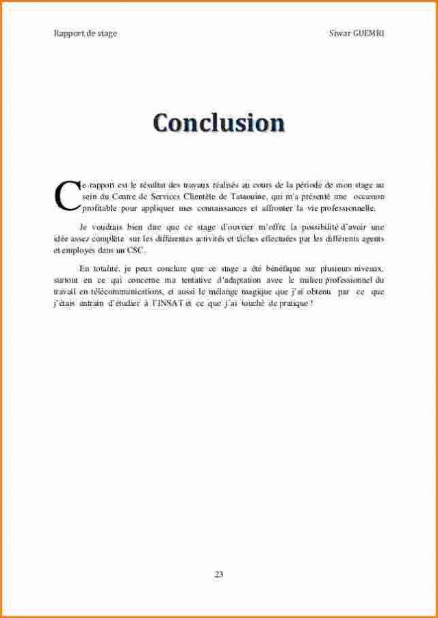 12 Conclusion Rapport De Stage Gouvernoratmaniema Rapport De Stage Stage Motivation