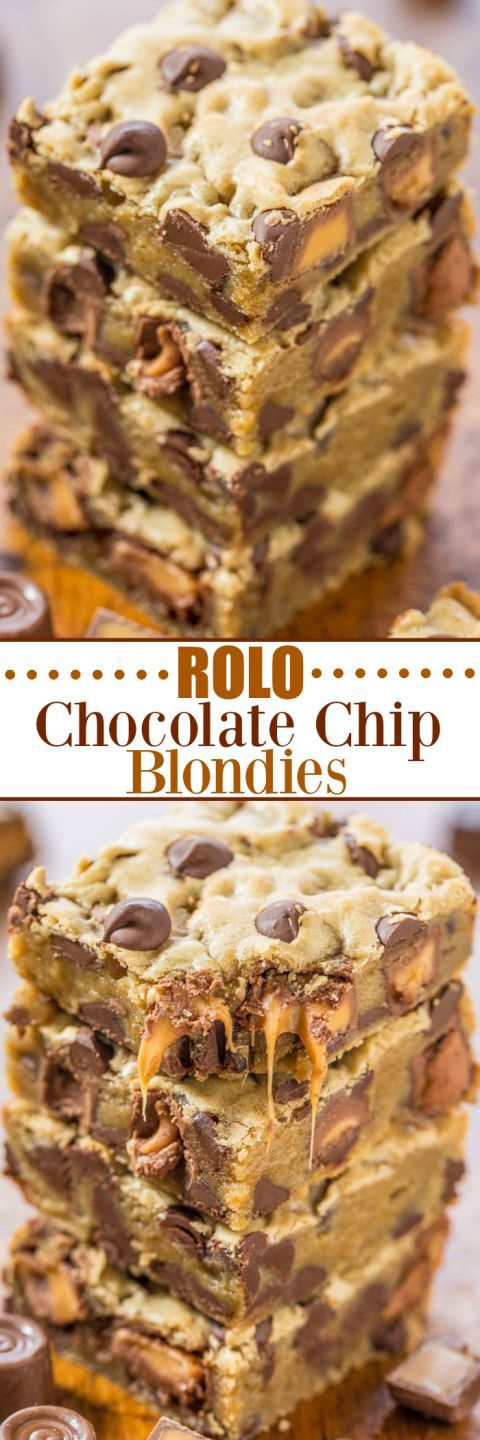 Rolo Chocolate Chip Blondies - Gooey caramel, chocolate chips, and buttery soft dough!! Easy, one-bowl, no-mixer recipe that's a guaranteed hit! Who can resist caramel and chocolate!!