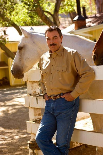 Tom Selleck with Spike , horse from the movie  Quigley Down Under. He bought the horse after the movie.