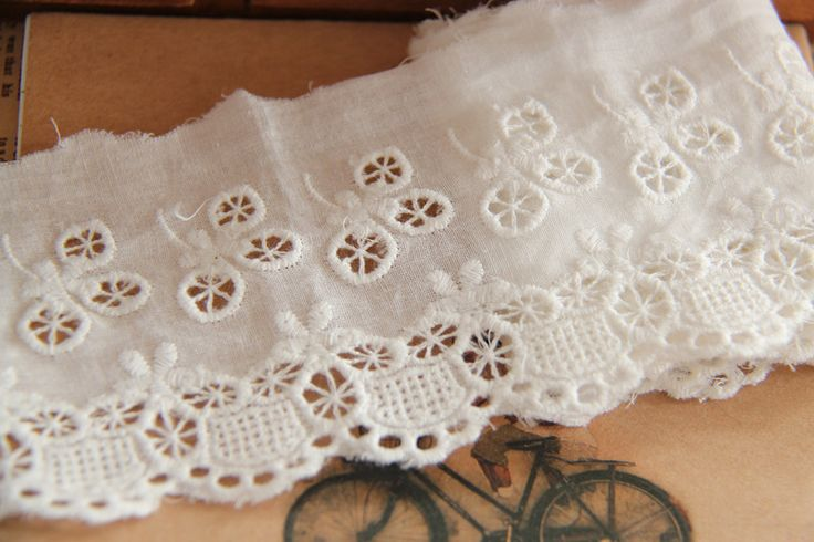 CL033 Free Shipping 15 Yds/Lot 7CM Wide High Quality DIY 100% Cotton Embroidery Dyable White Cotton Lace Trimming $24.00