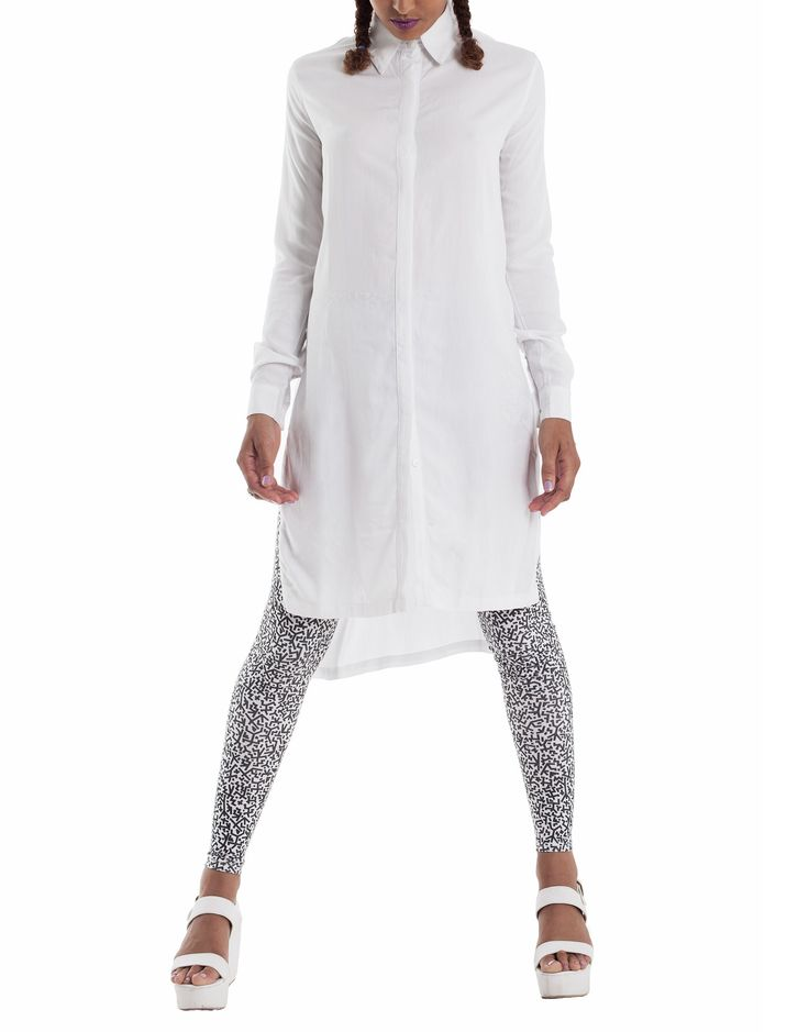 Nemis Split Side Shirt Dress White
