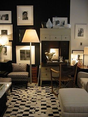 white and black damask rug in Thomas O'Brien's Manhattan office