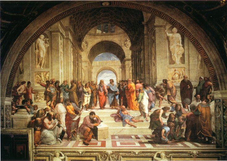 """Muito se tem especulado sobre a identidade das figuras pintadas no famoso afresco que ilustra uma das salas do Palácio do Vaticano. No entanto, a obra-prima de Rafael Sanzio guarda alguns mistérios que nos levam a refletir sobre os aspectos """"subversivos""""."""