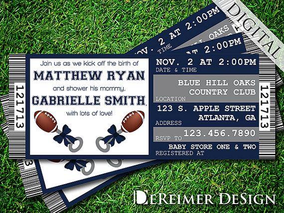 Sports Ticket Baby Boy Shower Invitation, Cowboys, Dallas, Football, Blue and Gray by DeReimer DeSign. $10