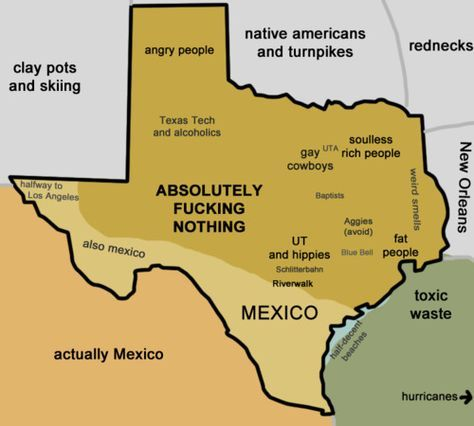 Texas according to Texans    From:  http://sorenhateseverything.tumblr.com/post/13909236126/texas-according-to-texans