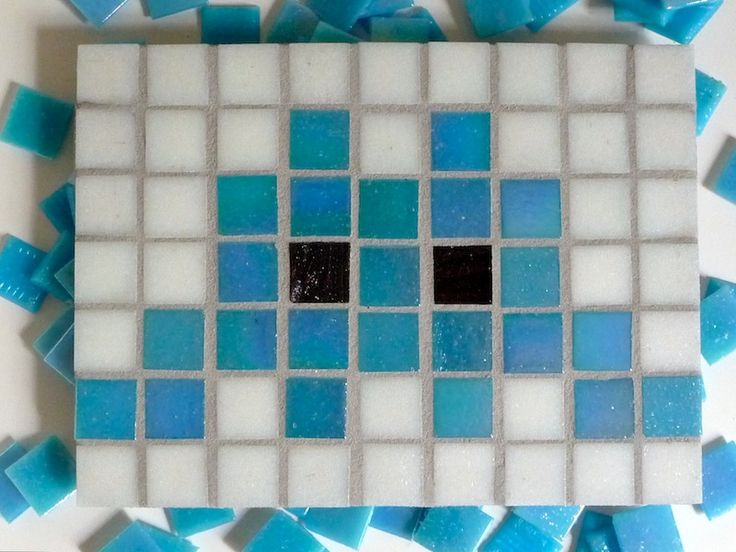 Mosaic Space Invaders - fun, simple characters for kids to make, while learning how to work with mosaic tiles.