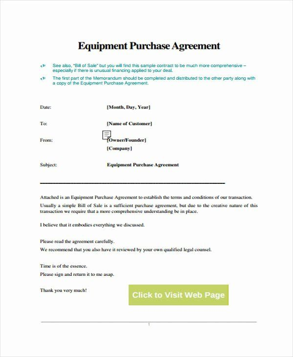 Equipment Purchase Agreement Template Best Of 29 Free Contract Agreement Forms Purchase Agreement Contract Agreement Rental Agreement Templates