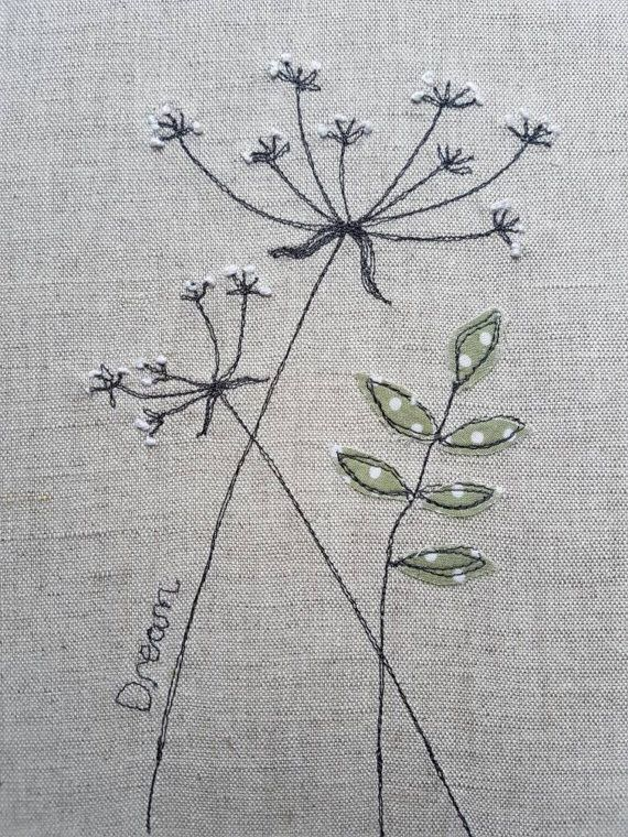 This piece of original textile art depicting cow parsley has been handmade by me, and gives you a truly unique piece of my work for your home or to give as a gift. It would make a lovely gift for nature lovers. To make this textile picture Ive used hand embroidery, and a technique