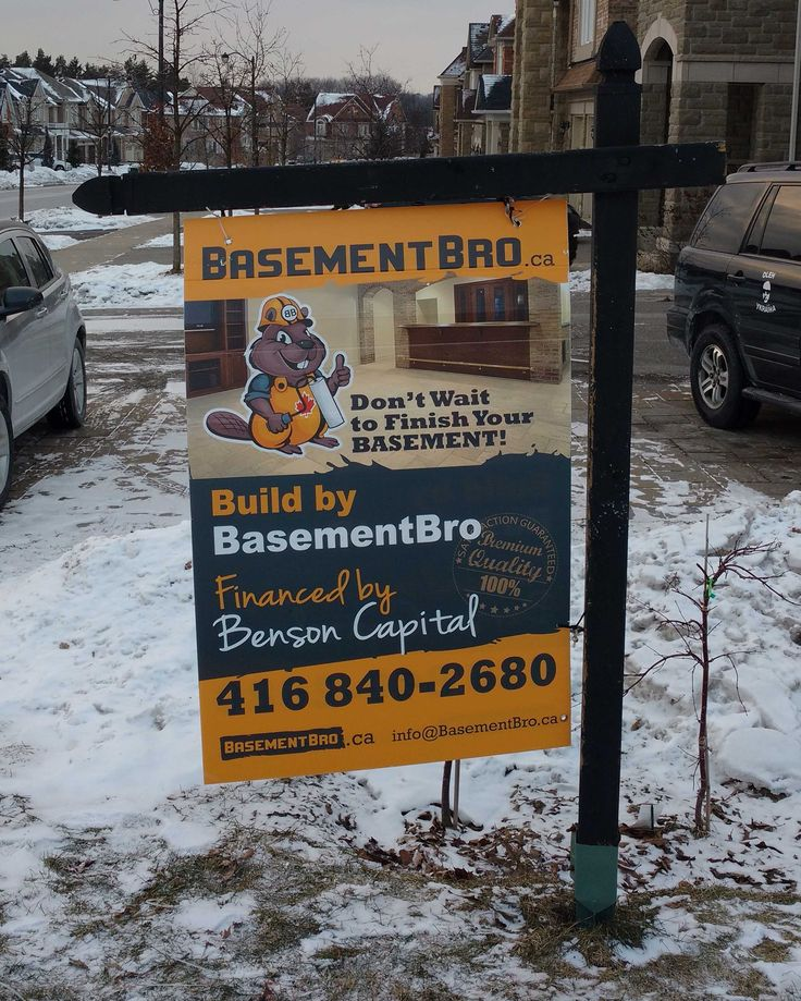 BasementBro coroplast sign; the idea of the sign advertising is taken from FOR SALE Real Estate hanging coroplast signs; coroplast signs could be used with wooden or metal frames (holders): https://www.lawnbagsigns.com/sign-holders.php