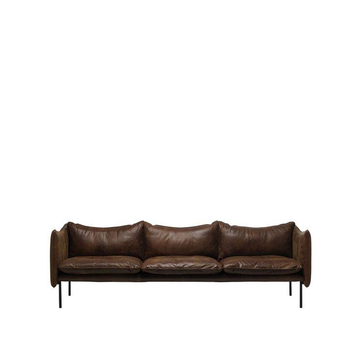 Tiki soffa - Tiki soffa - 3-sits, mörkbrunt läder