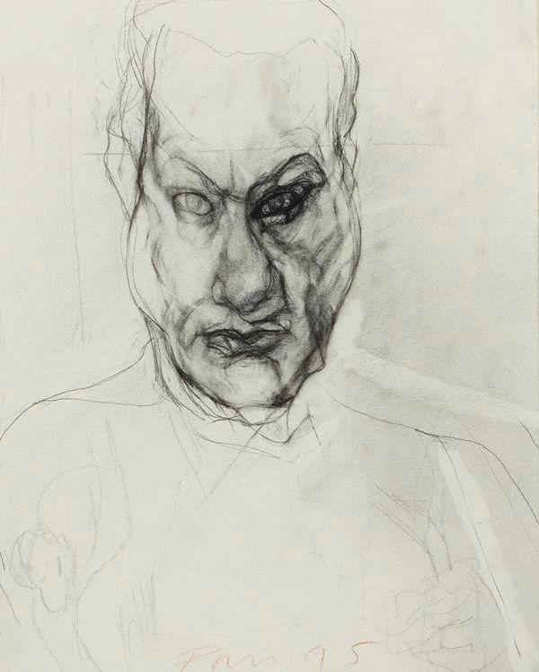 Mike Parr, Untitled Self Portrait 1981-1996, pencil on paper