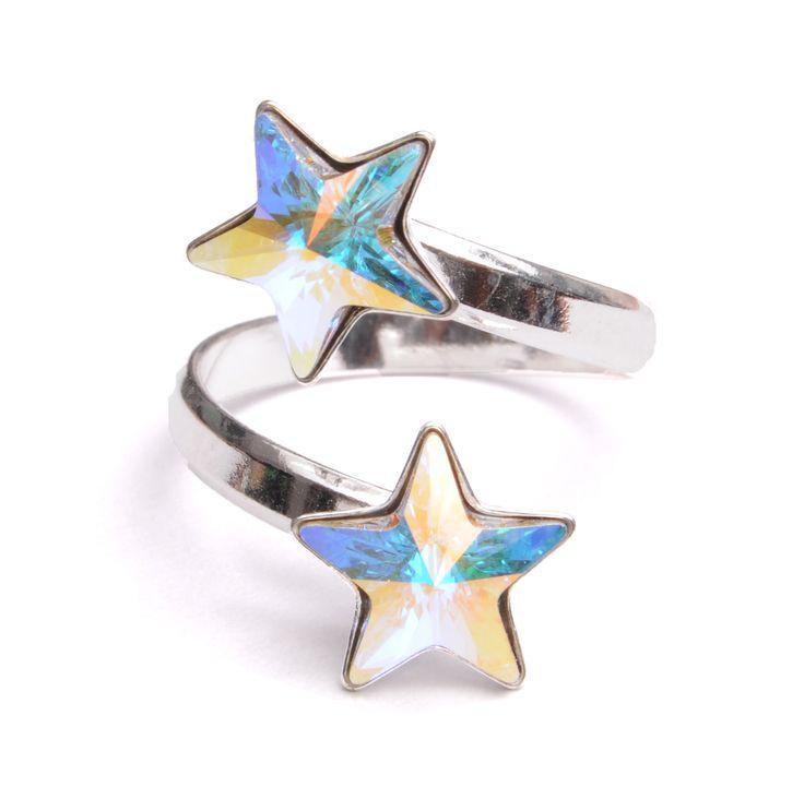 Inel cu baza din argint 925 și cristale Swarovski Star forma Rivoli, culoare Crystal Aurore Boreale #bijuterii #swarovski #swarovskicrystals #argint #simoshop #inel #stelute #swarovskistars
