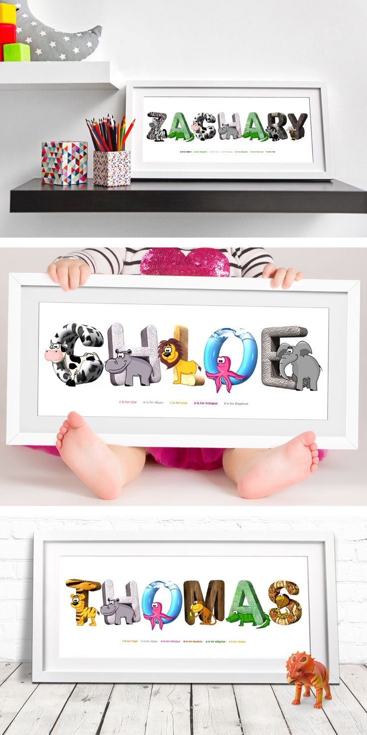 animal print personalised nursery name print animal alphabet