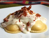 Kellen's cooking project and I get to help...Argentinian Sorrentinos - Ravioli Pasta with Ham and Mozzarella Cheese