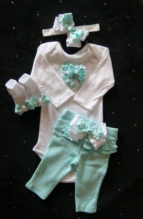 NEWBORN baby girl take home outfit complete shirt pants socks mint baby outfit, ribbon heart bows