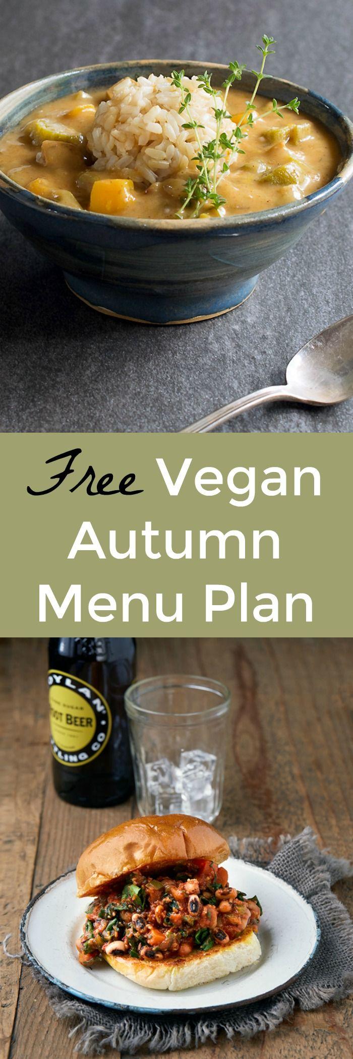 Bursting Full of Fall Flavors NEW and FREE Vegan Menu Plan