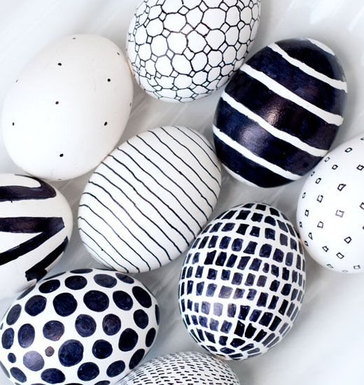 26 Easter Egg Crafts | Black and White | Easter Egg Decorating Ideas