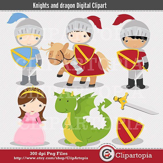 Caballeros y Dragon Digital Clipart para uso por ClipArtopia, $5.00