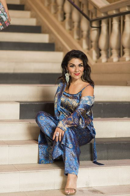 EARTH Kaliopi Eleni does exclusive Silk Dreams Universe of Stars, Camisole, Robe, Pyjama pant, world premiere, One Less God, Hollywood, Dances with Films Festival, 2017