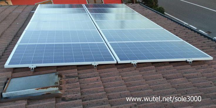 """http://www.wutel.net/sole3000  """"DIY"""" Stand-alone photovoltaic system (3kW) for home.   Impianto autonomo fotovotaico (3kW) per la casa (installato fai-da-te)."""