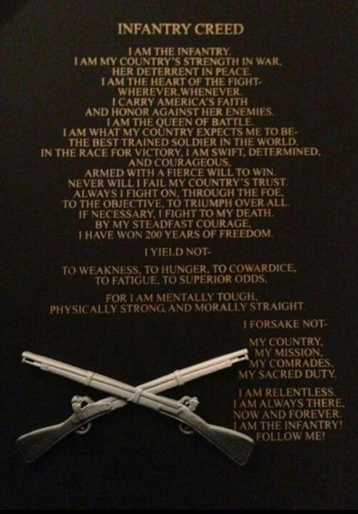 There isn't a word to describe the feeling of pride when I got to recite this creed when I graduated from Ft. Benning