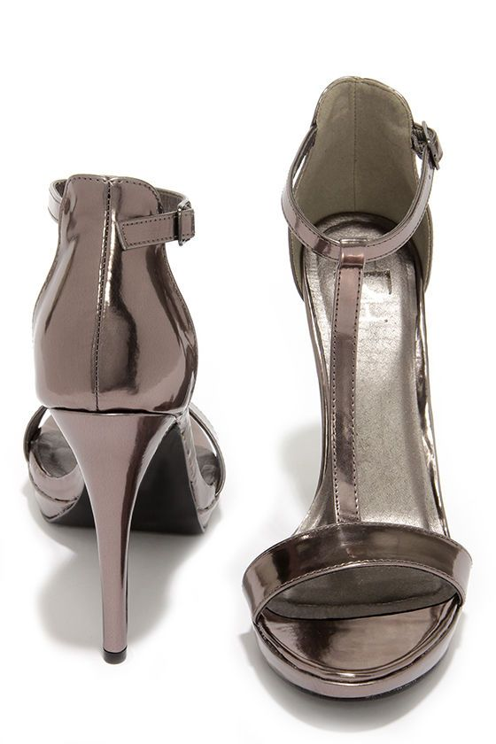 e28f91513e2 On My Level Pewter T Strap High Heel Sandals   Shoes   Heels ...