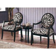 Best Master Furniture's Zebra 3-Piece Traditional Living Room Accent Chair and Table Set