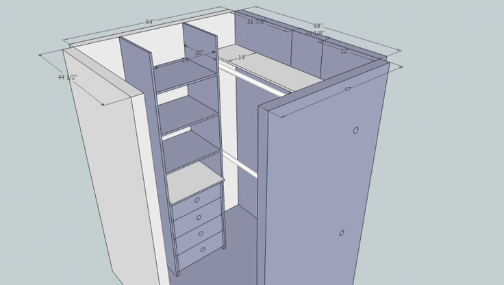 Small walk in closet layout dream home pinterest - Small closet design layout ...