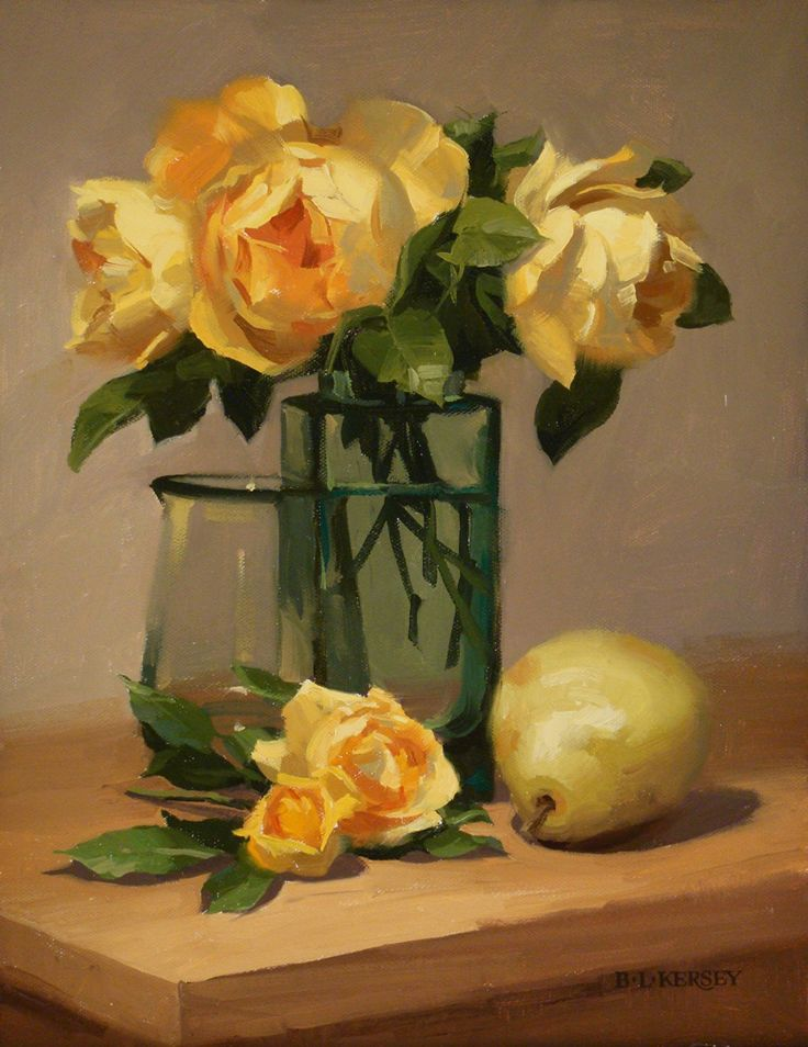 Yellow Roses With Pear by Laurie Kersey Oil ~ 14 x 11
