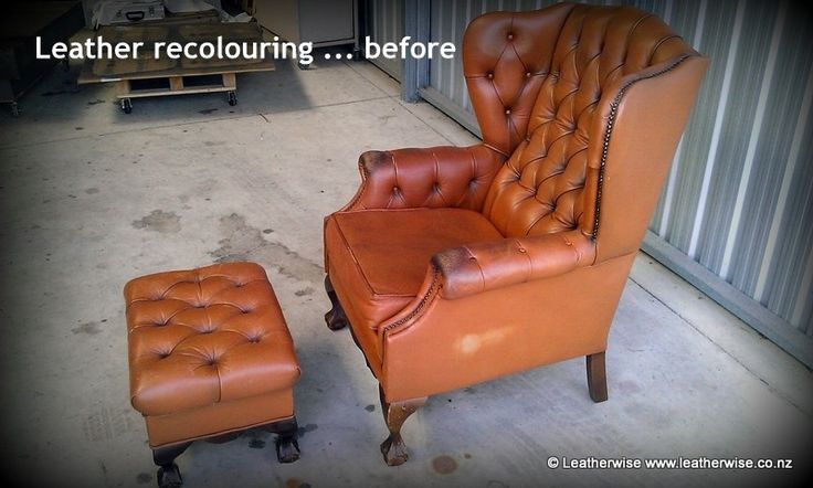 Recolouring and antiquing of deep-buttoned leather wingback chair and matching footstool ... before.