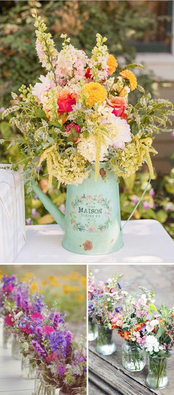 Decoracion de boda con flores silvestres. Centro mesa flores silvestres