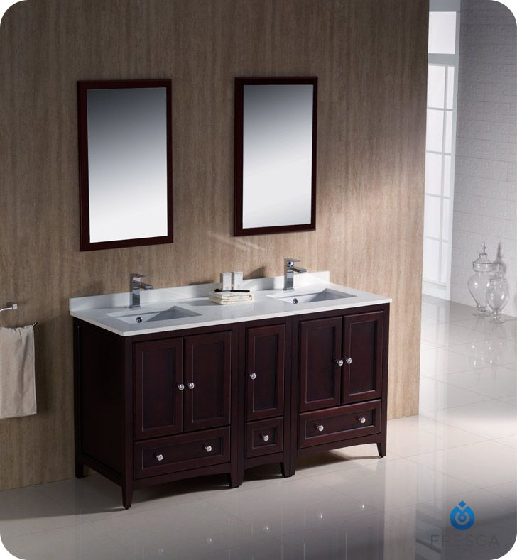 60 mahogany traditional double sink bathroom vanity w side cabinet