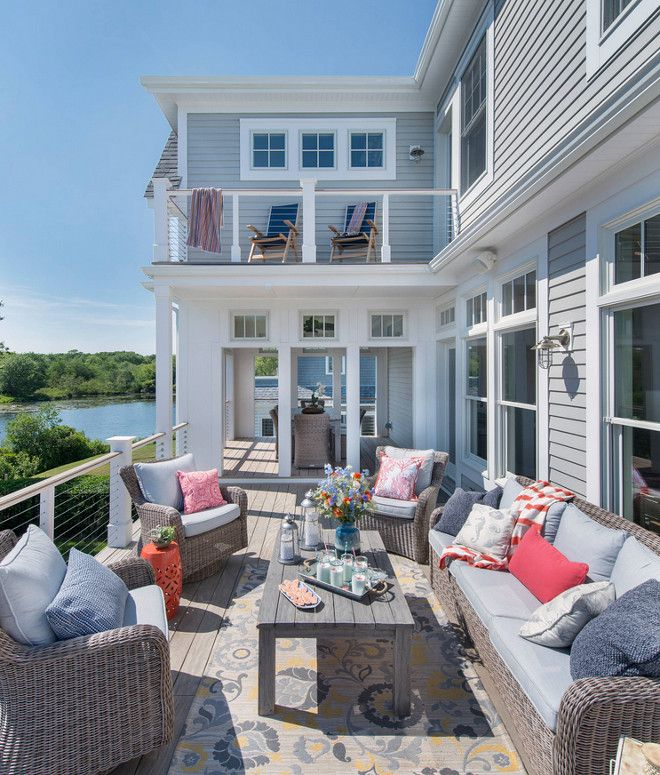 Beach House Patio and deck decorating Ideas. Creating a comfortable outdoor area, deck, patio with furniture and outdoor decorative pieces.…
