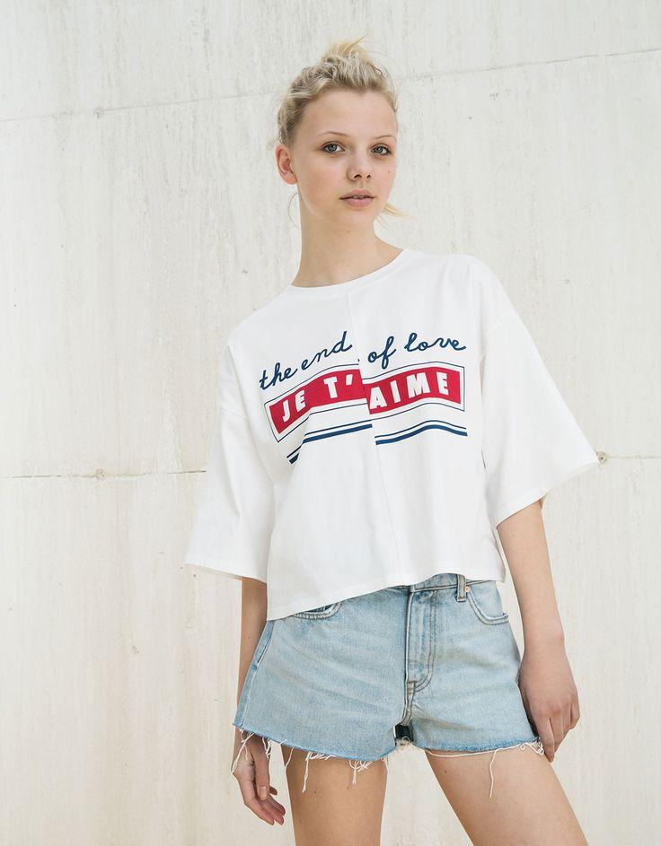 Camiseta BSK oversize 'Je t'aime' - Camisetas - Bershka España