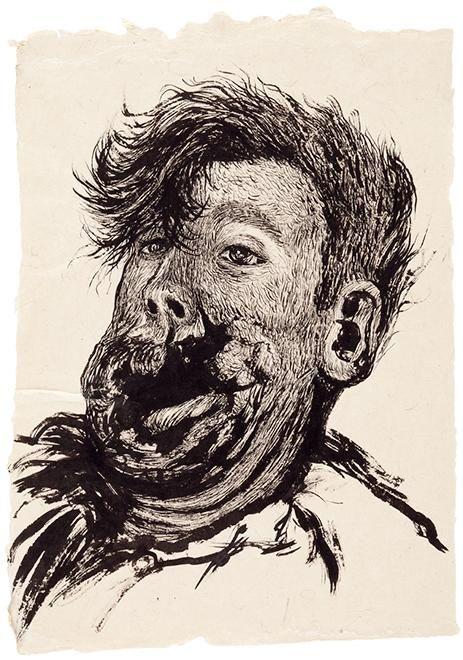 Elina Merenmies, Big Mouth, 2012, ink on paper I via Galerie Anhava