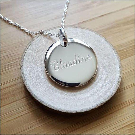 Collier chaîne médaille ronde 20 mm personnalisée gravée