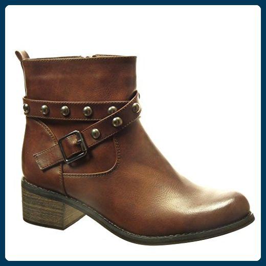 Angkorly - damen Schuhe Stiefeletten - Biker - Reitstiefel - Kavalier - Nieten - besetzt - Schleife Blockabsatz high heel 4.5 CM - Braun XF-13 T 38 - Stiefel für frauen (*Partner-Link)
