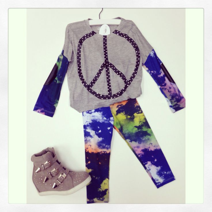 Flowers by Zoe tie dye peace set with wedge sneakers ❤️ available now at Tutti Bambini in South Miami at 7211 SW 58th Ave