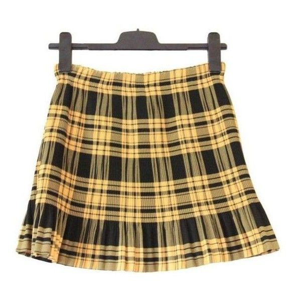 90s plaid pleated skirt, black yellow, high waist rise checkered tarta ❤ liked on Polyvore featuring skirts, mini skirts, high waisted plaid skirt, short skirt, yellow plaid mini skirt, yellow plaid skirt and pleated skirt