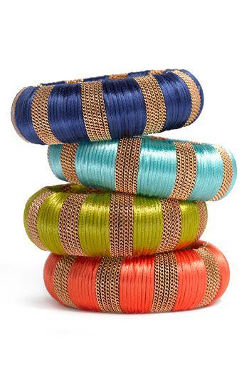 Cara Accessories Fabric & Chain Bangle