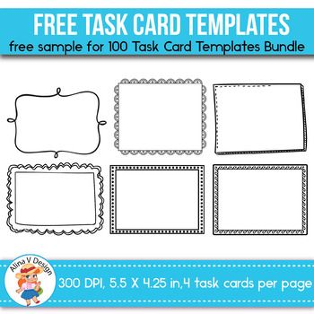 Creating custom task cards has never been easier! This 6 task card templates will help you create beautiful task cards. This set includes 6unique and EDITABLE task cards for Personal and Commercial Use.  This freebie is part of a complete 100 Task Card Templates BUNDLE.