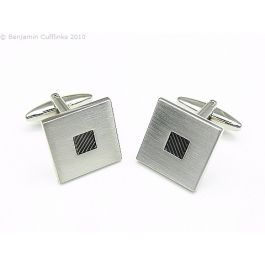 Classic Black Squares Cufflinks - Unbeatable classic square cufflinks. The black enamel centre has a fine lined pattern across it.