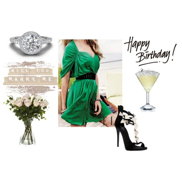 Emerald green cocktail dress with wide belt