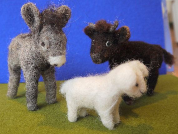 These animals will be a great addition to your nativity scene. They are 7-11 cm (2.8- 4.3 tall). All the animals are handmade of wool that is carefully